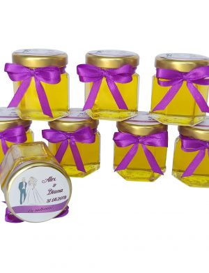 Marturii dulci cu miere, model handmade Iubire – mov, borcan 50 gr – DSBC121