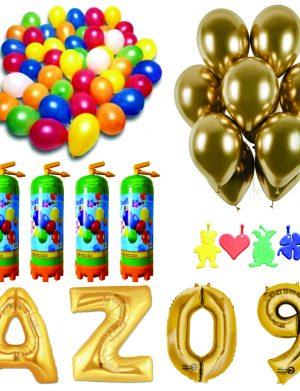 Pachet 20 baloane numere / cifre la alegere, 4 butelii heliu, 100 baloane 26cm metalizate si 50 baloane 33cm chromate