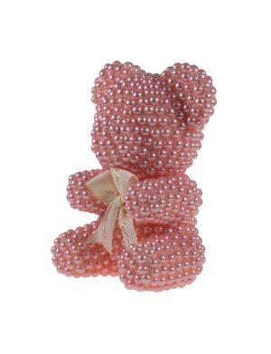 Cadou Ursulet Perlute Roz, din polistiren, 25 cm inaltime, ARBC194