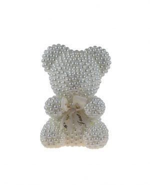 Ursulet Perlute Alb, din polistiren, 25 cm inaltime, ARBC195