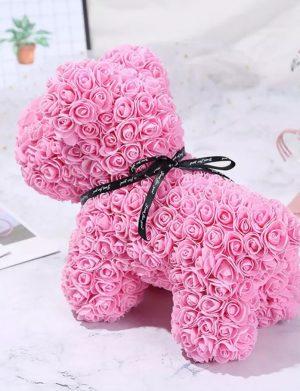 Catelus din trandafiri de spuma roz 40 cm, ARBC148