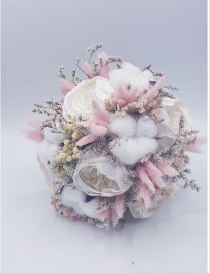 Buchet mireasa din flori uscate culoare piersica si bujori de sapun, ARBC143