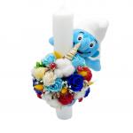 Lumanare botez Smurf ornata cu flori uscate si trandafiri de sapun bleu, ARBC1410