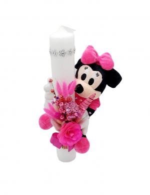 Lumanare botez 35cm, Minnie Mouse flori uscate si jucarie plus, ARBC1413