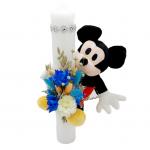 Lumanare botez 35 cm, Michey Mouse flori uscate si jucarie de plus, ARBC1411