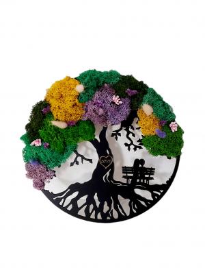 Tablou 2 pe o banca, coroana copac cu licheni stabilizati, ARBC146
