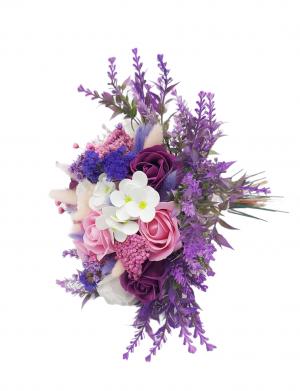 Buchet flori uscate si trandafiri de sapun roz, ARBC142