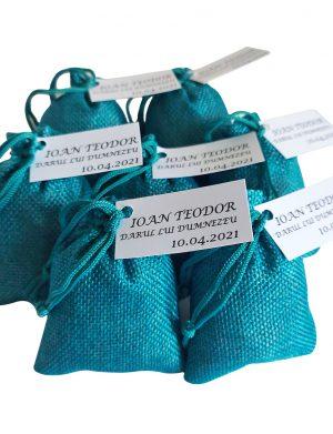 Marturie Saculet umplut cu lavanda, turquoise material iuta, AMB166