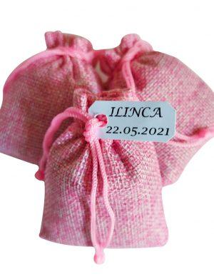 Marturie Saculet umplut cu lavanda, Roz, material iuta, AMB167