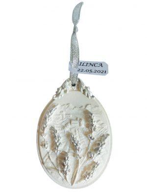 Marturie ceramica parfumata ornata cu forme de lavanda, AMB168