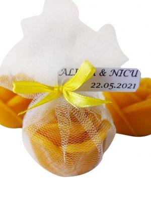 Marturie trandafir din ceara de albine, AMB161