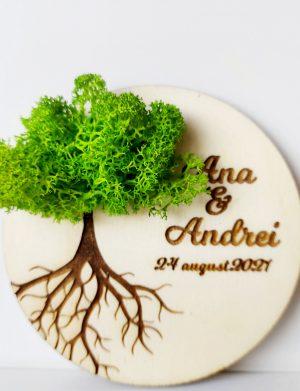 """Marturie nunta/botez """"COPACUL VIETII"""", Verde Neon, cu licheni stabilizati, diam. 10 cm, AMB172"""