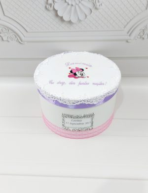 Trusou fetita personalizat, Minnie Mouse, 10 piese + lumanare + cutie, ARBC1916