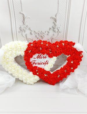 Aranjament masina Miri Fericiti, cu trandafiri albi si rosii din spuma, ARBC1919