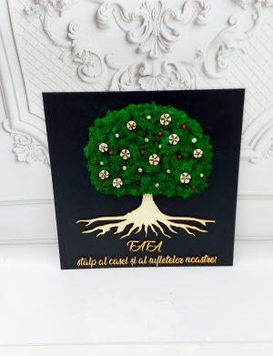 Tablou decorat cu licheni stabilizati, TATA si copacul vietii, ARBC1923