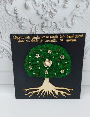 Tablou decorat cu licheni stabilizati, MAMA si copacul vietii, ARBC1921