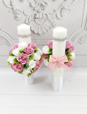 Lumanari cununie decorate cu flori de sapun roz & albi, ARBC1109