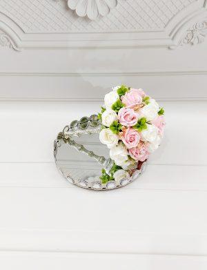 Buchet trandafiri de sapun roz deschis & albi, ARBC1108
