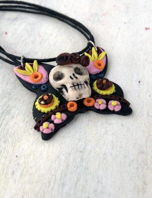 "Colier handmade in forma de fluture si craniu "" DarkButterfly"", AHGL13348"