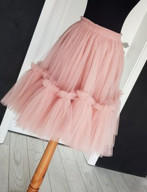 Fusta tulle cu bordura, scurta, roz, ACD141