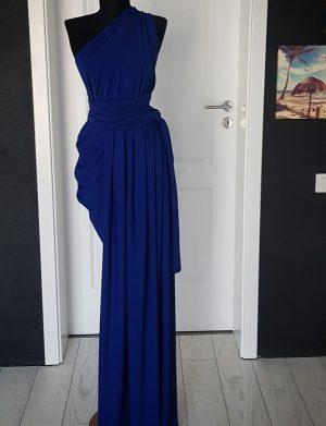 Rochie Versatila lunga cu crepeu si pliuri, albastru regal, ACD1410