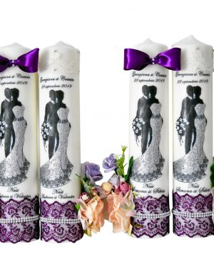 Lumanari imprimate si flori de matase FEIS023
