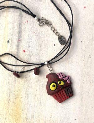 "Colier handmade pentru Halloween ""BrainCupcake"", AHGL13293"