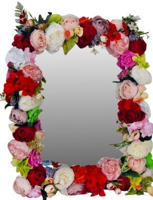 Oglinda miresei, lucrata cu flori de matase, 40×60 cm – FEIS003