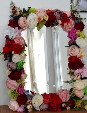 Oglinda lucrata cu flori de matase FEIS003