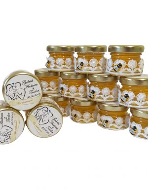 Marturii dulci, borcan de miere ornat cu banda de dantela 30 gr – DSBC002