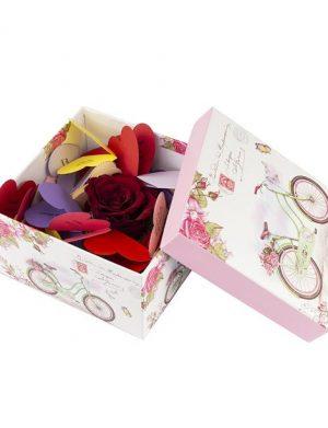 30 Motive, mesaje-inima, cutii diverse modele, cu un trandafir criogenat, multicolor
