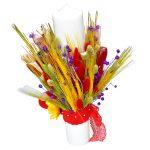 Lumanare botez cu flori uscate/spice de grau – FEIS031