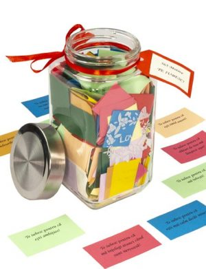 Borcanul cu 365 de motive Te Iubesc, mesaje-cupoane, diverse modele, personalizat, cadou iubit(a), multicolor