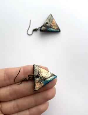 """Cercei triunghi """"Blue Touch"""", AHGL12812"""