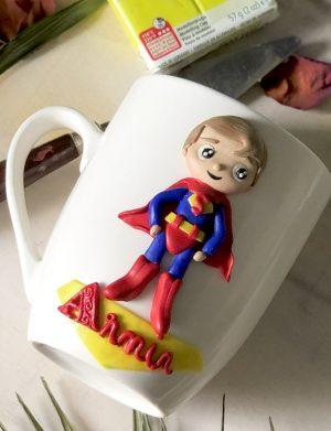 "Cana fimo ""SuperBaby"", decorata manual, AHGL13205"