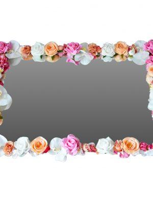 Oglinda realizata cu flori de matase, spuma si real touch, dim. 40x60cm, FEIS004
