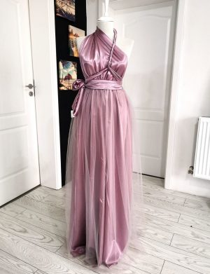Rochie versatila din satin cu tulle si talie elastica, roz – ACD1022