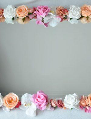 Oglinda realizata cu flori de matase,spuma si real touch FEIS004