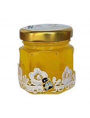 Marturii dulci, borcan de miere ornat cu banda de dantela 50 gr – DSBC003