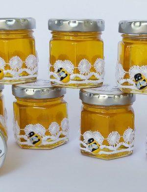 Marturii dulci cu miere, model handmade Dorinta – alb, borcan 50 gr  – DSBC003