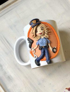 "Cana decorata cu pasta polimerica fimo ""Police"", AHGL13421"