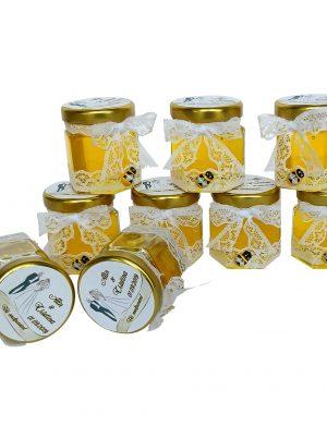 Marturii dulci, borcan de miere ornat cu funda de dantela 50 gr – DSBC005