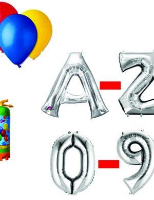 Pachet 5 baloane numere / cifre argintii la alegere, 1 butelie heliu, 100 baloane latex 26cm standard