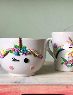Set Unicorn 2 format din cana, castron, lingura, fuculita si cutit, decorate manual din pasta polimerica fimo., AHGL387