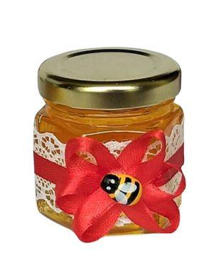 Marturii dulci, borcan de miere ornat cu floare de satin 50 gr – DSBC004