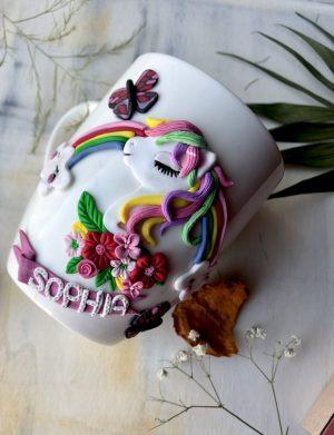 """Cana fimo """"Unicorn"""", decorata manual, AHGL12973"""