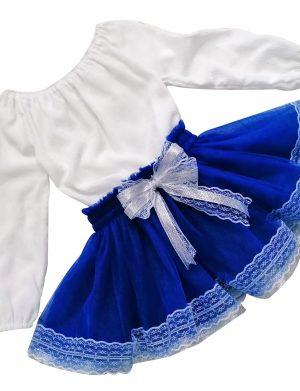 Set ie din panza topita si fusta din tulle incretit pentru copii ACD1027