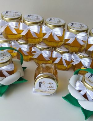Marturii dulci cu miere, model handmade Zumzet dulce – albastru, borcan 50 gr – DSBC008