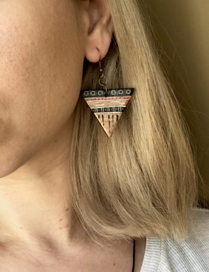 Cercei Triunghi Bronz Cu Motive Aztece 2