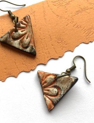 Cercei triunghi cu print floral (2), AHGL12814